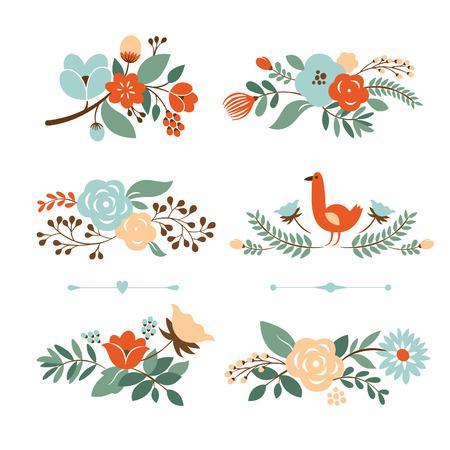 florale: Set Botanical grafischen Elementen