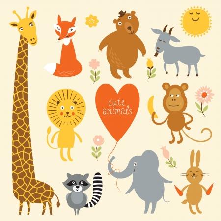 animales de la selva: Ilustración vectorial de los animales Vectores