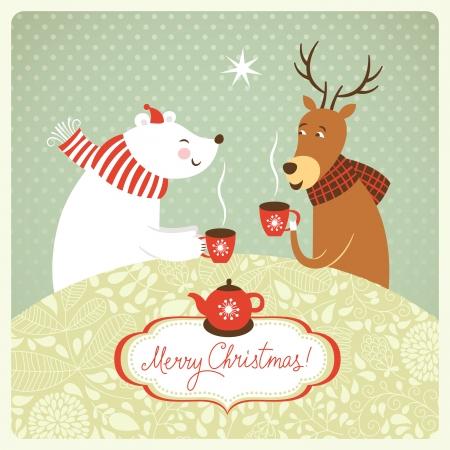クリスマス イラスト、シカ、クマは、熱いお茶を飲む