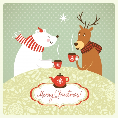 Christmas illustration, deer and bear drink hot tea Vector