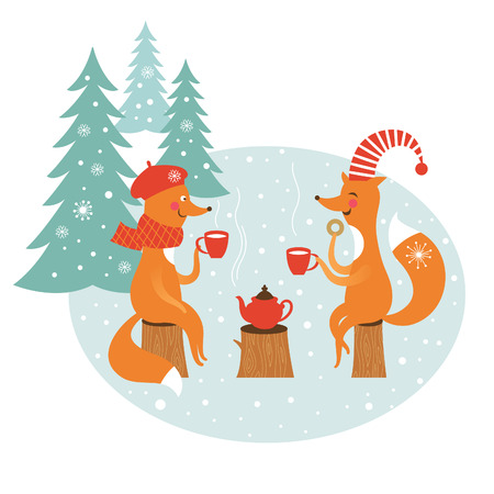 drink tea: two cute foxes drink  tea Illustration