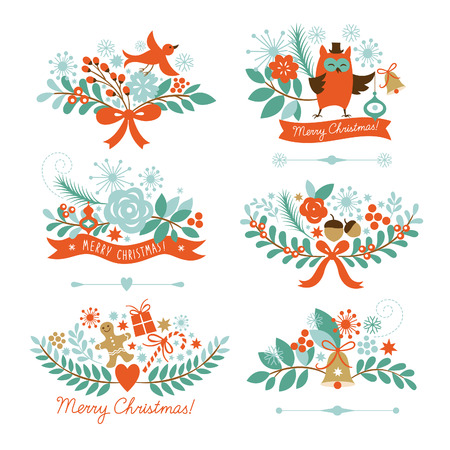 arts symbols: Set of Christmas and New Year graphic elements