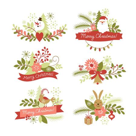 クリスマスと新年のグラフィック要素のセット