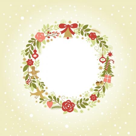 retro frame: Christmas wreath
