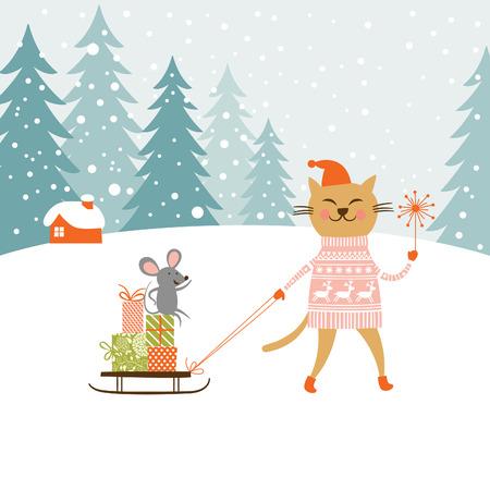 Lindo gatito lleva el trineo con los regalos y poco ratón