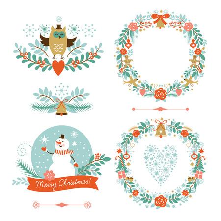 クリスマス バナー セット、休日のグラフィック要素  イラスト・ベクター素材