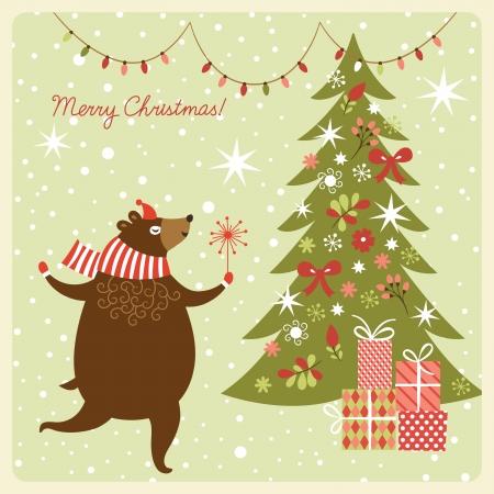 Christmas greeting card, funny bear