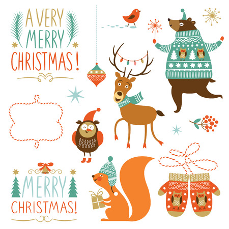 squirrel isolated: Set of Christmas graphic elements