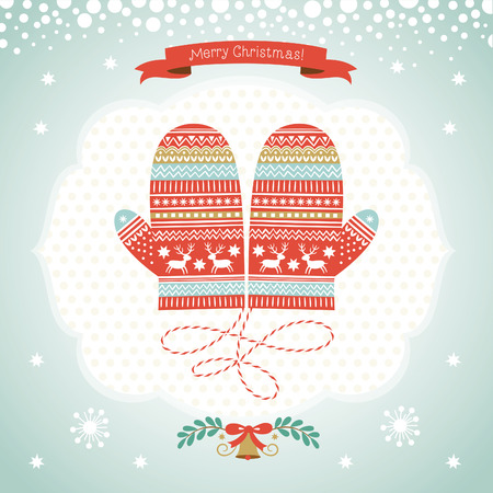 Card design with Christmas mittens