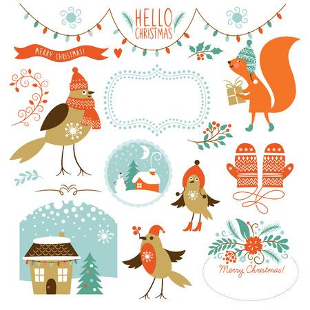 vintage: Noel grafik öğeleri ayarlayın