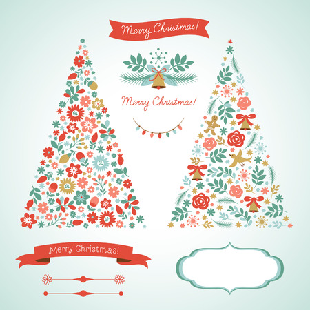 x mas card:  Christmas tree and graphic elements