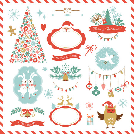 크리스마스 그래픽 요소의 집합