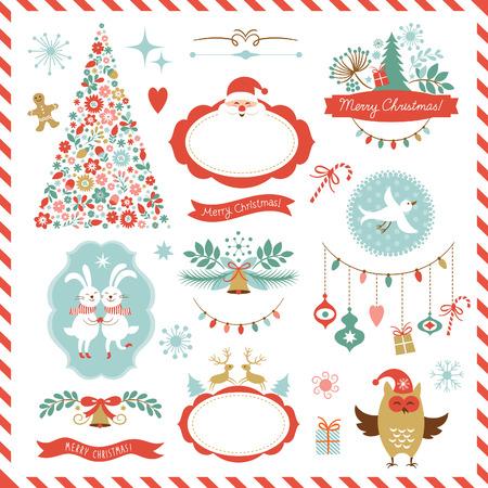 cenefas decorativas: Conjunto de elementos gr�ficos de Navidad Vectores