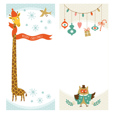 giraffe frame: Christmas or New Year vertical banners Illustration