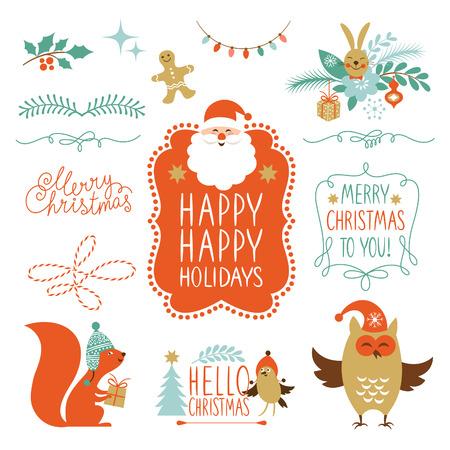 크리스마스 문자와 그래픽 요소의 집합