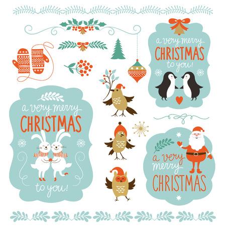 pinguinos navidenos: Conjunto de letras de Navidad y elementos gr�ficos