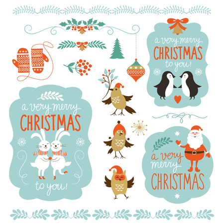 Set van Kerstmis belettering en grafische elementen Stock Illustratie