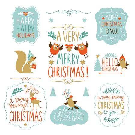 vintage: Conjunto de letras de Navidad y elementos gráficos