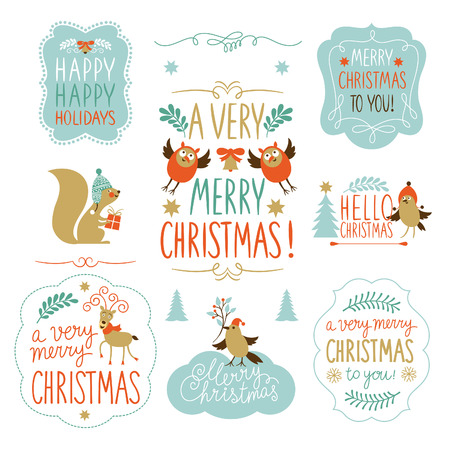 isolated squirrel: Set of Christmas lettering and graphic elements