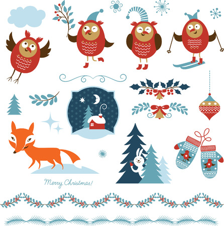 Conjunto de elementos gráficos de Navidad