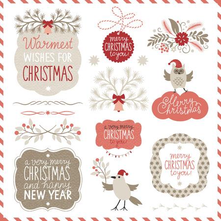 Insieme di elementi grafici di Natale Archivio Fotografico - 23868176