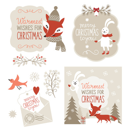 bunny xmas: Set of Christmas graphic elements