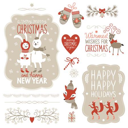 lapin: Ensemble des éléments graphiques de Noël
