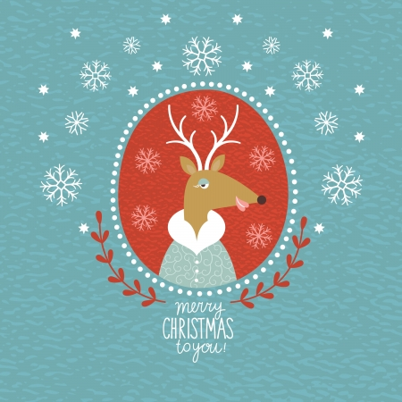 cute christmas: Cute Christmas Deer, portrait