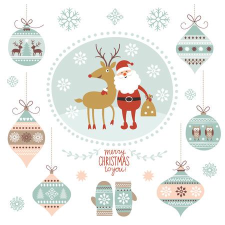 De illustratie van Kerstmis, de Kerstman en Herten, opknoping speelgoed Stock Illustratie