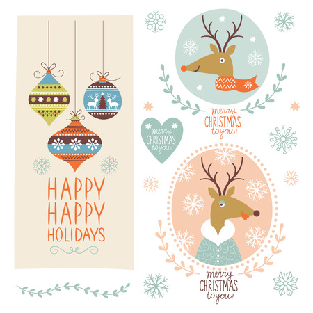 Set of Christmas lettering and illustrations Vector