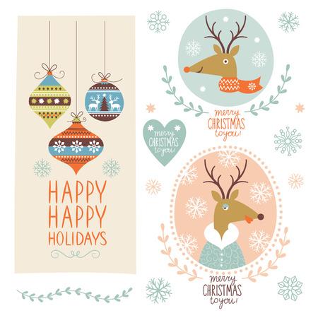 vintage: Set von Weihnachts-Schriftzug und Abbildungen