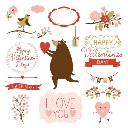 Grafische elementen Valentijnsdag, vector collectie Stock Illustratie