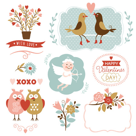 Valentine s day graphic elements, vector collection Vector