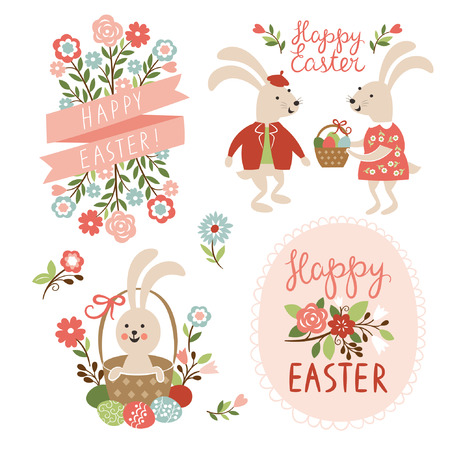 eggs in basket: Happy easter cards illustration with easter eggs, easter rabbits and font