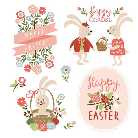 Tarjetas de pascua feliz ilustración con huevos de pascua, conejos de pascua y la fuente Vectores