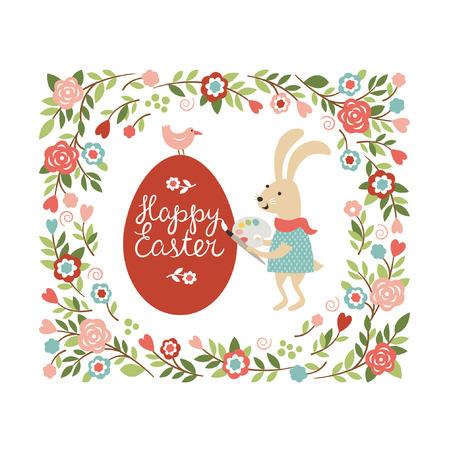 coniglio di pasqua: Cartoon pasqua coniglio di vernice l'uovo Vettoriali