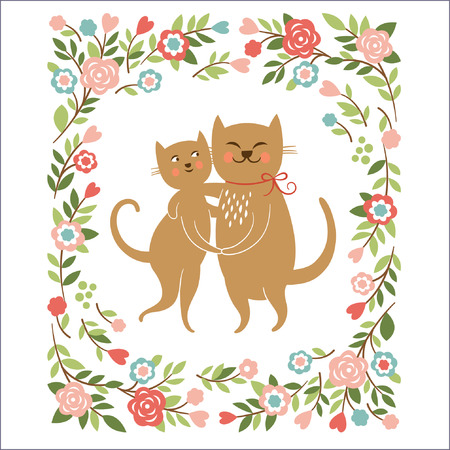 Cartoon cats , flowers frame, greeting card Vector