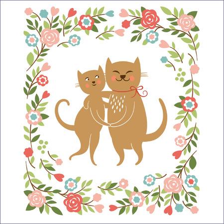 Gatos de la historieta, marco de las flores, tarjetas de felicitación Foto de archivo - 25288450