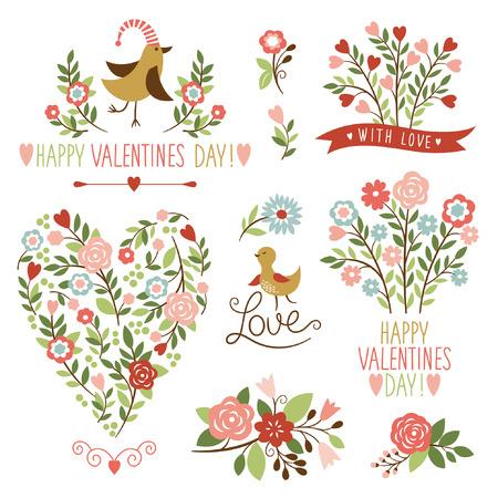 decorative elements: ornaments and decorative elements, valentine card,flowers illustrations