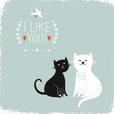valentine card, cartoon cats Vector