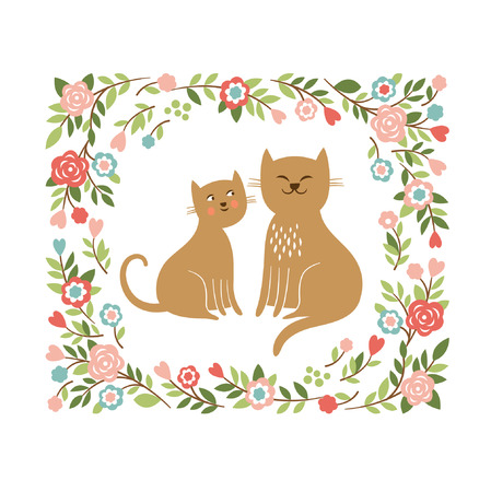 Gatos lindos de la historieta Foto de archivo - 25288453