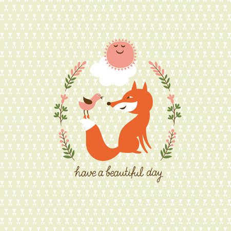 cute a fox and a bird Vector