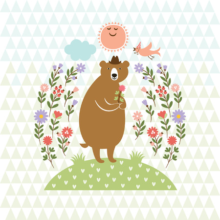 cute Bear and little Bird  Vector