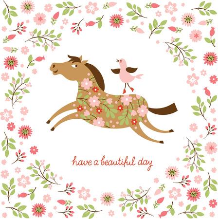 Los caballos florales en un galope Foto de archivo - 26531824