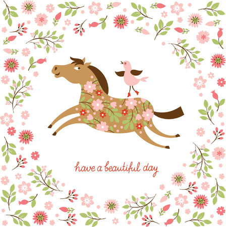the floral horses  in a gallop Vector