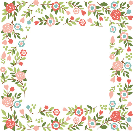 square shape: floral frame with place for your text