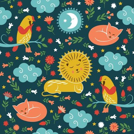 lullaby pattern, sleepy cute animals Vector