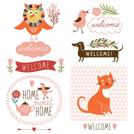decor elements, welcome home lettering Vector