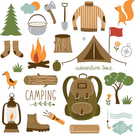 campamento: Juego de equipo de campamento conjunto de iconos