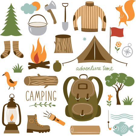 Set of camping equipment icon set Çizim